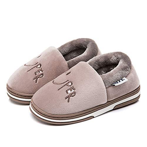 9854742c50bc Enfants Coton En Hiver Mignon Pantoufles Chaussures dérapant Chausson  Peluche Marron Pantoufle Chaud Anti g4tEwBx