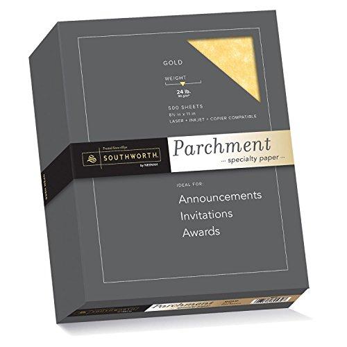 Gold Parchment Paper - Southworth Parchment Specialty Paper, 8.5 x 11 inches, 24 lb, Gold, 500 per Box (994C)