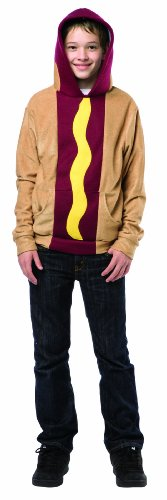 [Rasta Imposta Juniors Hoodie Hot Dog, Tan/Multi, One Size] (Hot Costumes For Teens)