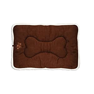 """Best Pet Supplies Double Sided Dog Crate Mat (36"""" x 23"""" x 2"""") – Super Soft Suede/ Lambswool Kennel Mat- Stylish Machine Washable Dog Cushion- Heavy Duty Mat for Crates (Large- Dark Brown)"""