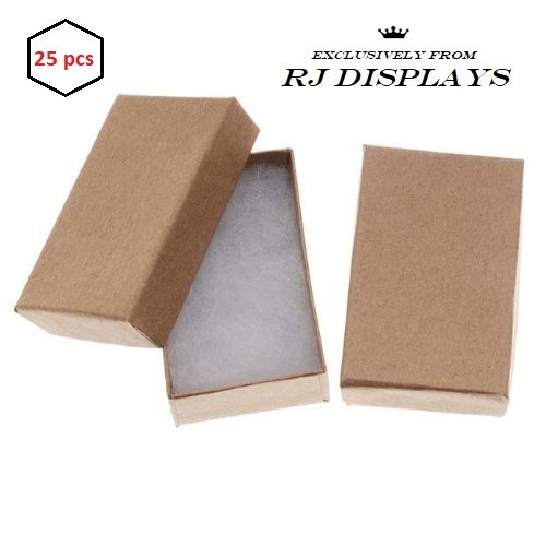 RJ Displays- 25 Pack Cotton Filled Brown Kraft Jewelry Box for Pendant, Charm, Bracelet, Anklet, Ring, Earring, Necklace Chain Jewelry and Small Gift 2 5/8 x 1 1/2