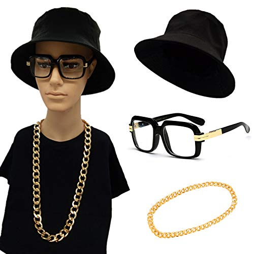 80s/90s Hip Hop Costume Kit- Cotton Bucket Hat,Big Chunky Miami Cuban Chain Necklace,80's Gazelle Vintage Glasses