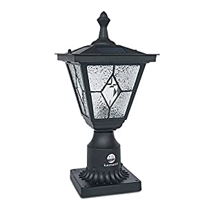 Kemeco SP4220Q LED Cast Aluminum Diamond Glass Solar Post Light Fixture with 3-Inch Fitter Base for Outdoor Garden Post Pole Mount
