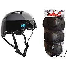 661 Dirt Lid Skateboard BMX Youth Helmet CPSC Certified + Knee Elbow Wrist Pads