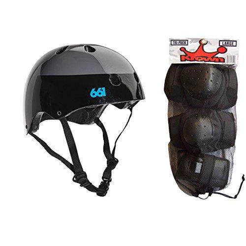 - 661 Dirt Lid Skateboard BMX Youth Helmet Black S/M Knee Elbow Wrist Pads