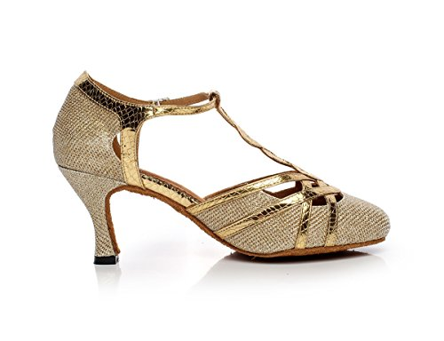Minishion Qj6231 Womens Color Block Satijn Latin Salsa Dansschoenen Goud