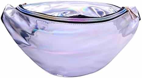 HDE Shiny Retro Fanny Pack Rave Festival Metallic Hologram Bum Bag Waist Pouch