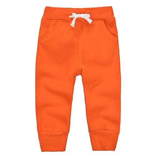 ECHERY Unisex Kids Cotton Pants Fleece Elastic Waist Winter Trousers Baby Bottoms Sweatpants 1-5 Years by ECHERY