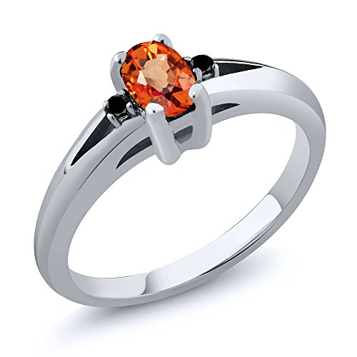 Gem Stone King 0.58 Ct Oval Orange Sapphire Black Diamond 925 Sterling Silver Ring (Size 7)