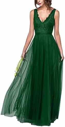 88250f60210f Fanciest Women's Double V Neck Bridesmaid Dresses Long Lace 2018 Prom  Evening Dress