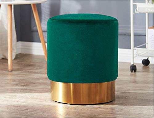 Living Express Modern Velvet Round Upholstered Ottoman Stool-Golden Metal Base,Small Living Room Ottomans & Footstool,Green