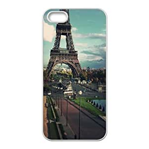 IPhone 5,5S Cases Paris...On the Way to the Eiffel Tower, IPhone 5,5S Cases Ediffel Tower Cheap for Girls, [White]