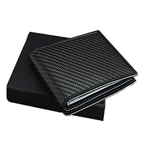 AmzBarley Men RFID Wallets Men's Card Case Holder Blocking Carbon Fiber Magnetic Modular PU Matte Leather 8 Slots ID Window Zip Coin Pocket Minimalist Slim Money Clip Bifold Business Black Color