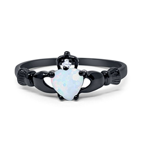 - Blue Apple Co. 925 Sterling Silver Claddagh Promise Ring Black Tone Rhodium PL Simulated Fiery White Opal Accent