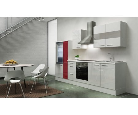 respekta - Bloque de Cocina (300 cm Blanco HG APL Blanco ...