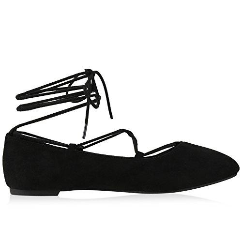 napoli-fashion Damen Riemchenballerinas Lace Up Ballerinas Lack Glitzer Schuhe Veloursleder-Optik Flats Modische Slippers Jennika Schwarz Schnürer