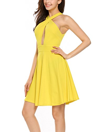 ANGVNS Dress Party Mini Line Women's Cut Swing Yellow Sleeveless Cocktail Sexy Out A g1Brgw