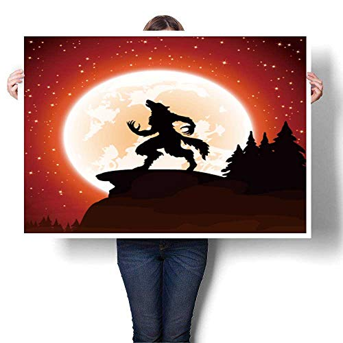 SCOCICI1588 Wall Art Scenery Oil Painting Halloween Night and Werewolf on Moon Background Oil Painting,32