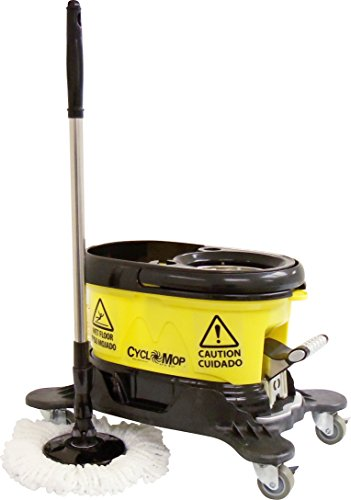 CycloMop Commercial Spinning Spin Mop with Dolly Wheels - Heavy Duty Design for Years of Use - Rubbermaid Wavebrake Bucket
