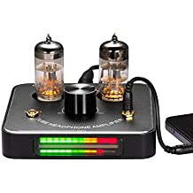 Nobsound Little Bear P2 Mini 6C11 Vacuum Tube Headphone Amplifier Stereo Hi-Fi Audio Amp; Replaceable Tube and OP AMP; with LED VU Meter Music Audio Spectrum (Black)