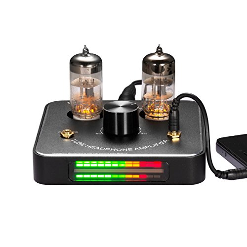 Nobsound Little Bear P2 Mini 6C11 Vacuum Tube Headphone Amplifier Stereo Hi-Fi Audio Amp; Replaceable Tube and OP AMP; with LED VU Meter Music Audio Spectrum (Black) by Nobsound