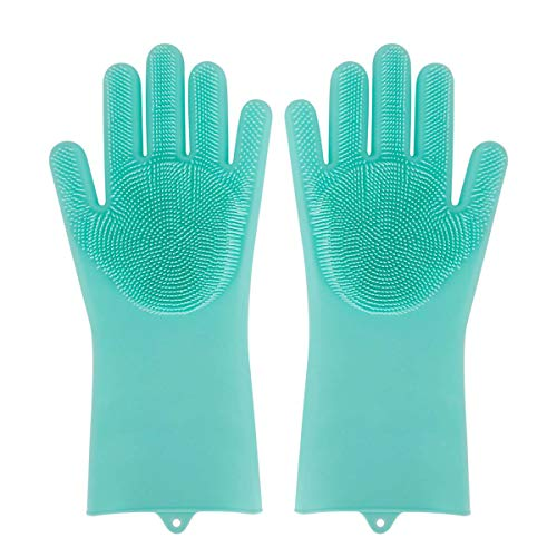 HAISSKY Magic Silicone Dishwashing Gloves, Reusable Cleaning Brush Gloves with Bristles Heat Resistant, Great for Kitchen, Bathroom and Pet (1 Pair, Green) (Magic 1 Gloves)