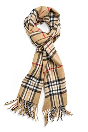 Veronz Soft Classic Cashmere Winter Scarf, Camel Plaid