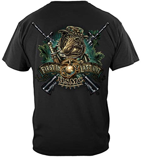USMC Hats caps | Marine Devil Dog First in Last Out Shirt ADD68-MM108XXL