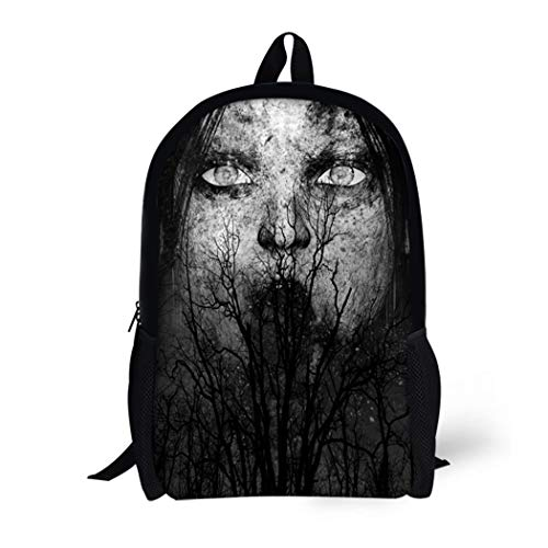 Pinbeam Backpack Travel Daypack Halloween 3D of Scary Ghost Woman Horror Mixed Waterproof School Bag ()