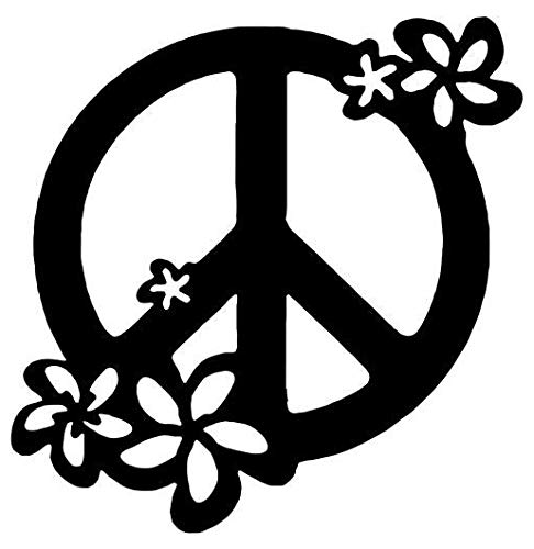 - Hippie Peace Sign Flowers - Sticker Graphic - Auto, Wall, Laptop, Cell, Truck Sticker for Windows, Cars, Trucks