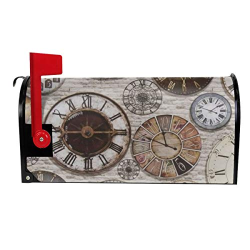 Tidyki Vintage Antique Items Steampunk Clocks Mailbox Covers Magnetic MailWrap Wraps Post Letter Box Cover Garden Home Yard Decor Standard Size 25.5x21 in]()