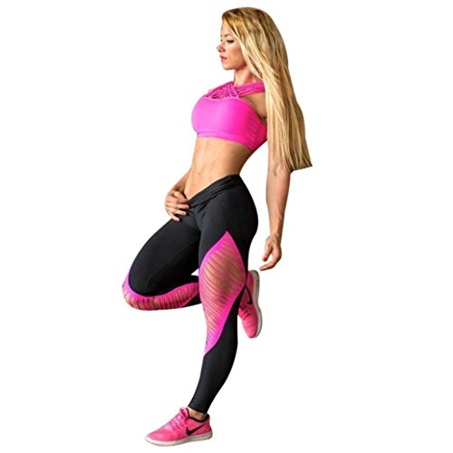 Leggings,Han Shi Women Sports Gym Yoga Pants Mid Waist Workout Fitness Elastic Trouser (M, Black)