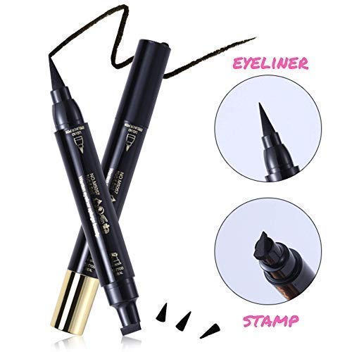 Double-Sided Winged Liquid Eyeliner Stamp by Tatyana Naturals (10mm, Matte Black) Smudge-Proof, Waterproof, Create Perfectly Identical Wings for Your Cat Eye Makeup