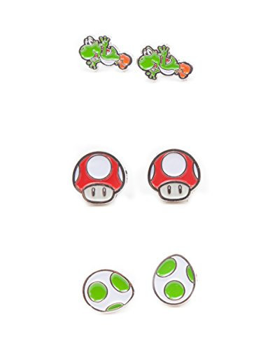 Nintendo Super Mario Bros - Yoshi, Egg & Mushroom Stud Earrings | 3 Pair - Super Earrings Mario