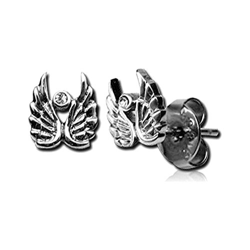 Stainless Steel Angel Wings & CZ Boucles d'oreilles