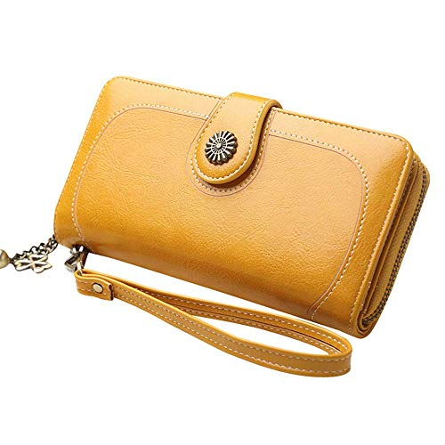 Long Retro Style Phone Bag Clutch Women Large Space Trifold Wallet Card Purse (Yellow)