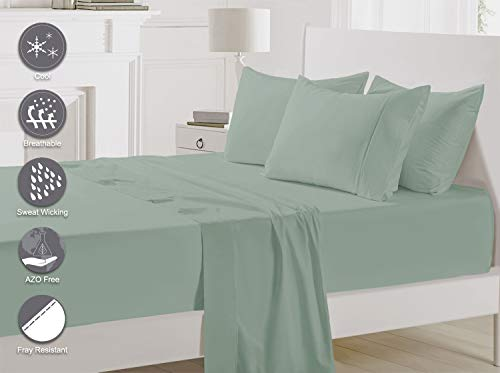 Pizuna 400 Thread Count Cotton Queen Size Sheets Set Sage, 100% Long Staple Cotton Sheets Set, Soft Sateen Best Cotton Bed Sheets Deep Pocket fit Upto 15 inch (100% Cotton Sea Foam Queen Sheet Set)