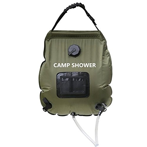 F.S.M. 20L Folding Water Shower Bag Outdoor Camping Hiking Self Driving Tour Solar Heating with Thermometer by F.S.M.