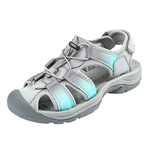 Omnium Sport Sandal - Northside Women's Trinidad Sport Sandal, Gray/Aqua, Size 8 M US