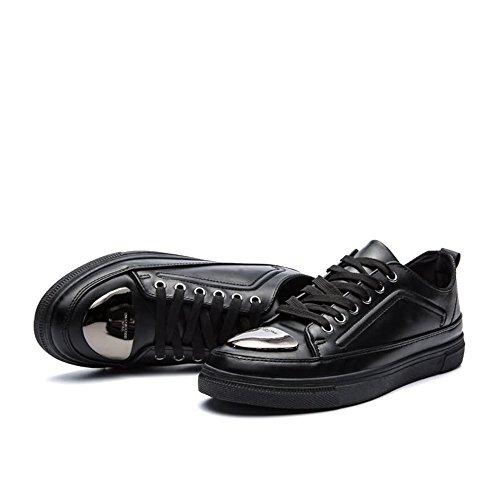 De Loisir De Hommes Plat Urbaines Rond Couleur Solide Talon Porc Bout Chaussures Cricket Humides Noir Chaussures Peau Baskets qwOnAZx8