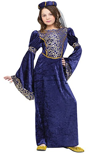 [Renaissance Maiden Kids Costume Blue / Gold Small] (Renaissance Costume Material)