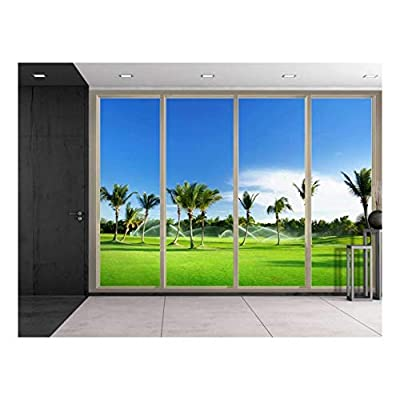 Wall26 - Large Wall Mural - Tropical Scenery with Palm Trees Seen Through Sliding Glass Doors | 3D Visual Effect Self-Adhesive Vinyl Wallpaper/Removable Modern Decorating Wall Art - 66