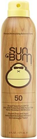 Sun Bum Original Moisturizing Sunscreen Spray SPF 50   Reef Friendly Broad Spectrum UVA / UVB   Water Resistant Continuous Spray with Oil-Free Protection   Hypoallergenic, Paraben Free, Gluten Free   SPF 50 6oz Bottle