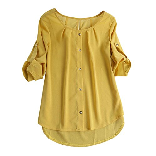 Teresamoon Women Casual Long Sleeve Button Chiffon Blouse Tops T Shirt
