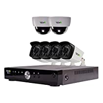 REVO America Aero HD 1080p 8 Ch. Video Security System with 6 Indoor/Outdoor Cameras, White/Black (RA81D2GB4G-1T)