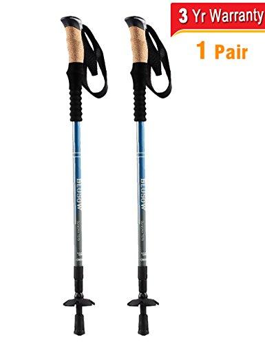 Trekking Poles Anti Shock Hiking Walking Sticks, Free Rubber Feets & Snow Disks, 2-Pack