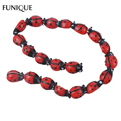 Lindsie-Box - Ladybug Lampwork Print Glass Beads Findings For Jewelry Making Cute Animal Beading DIY Necklace Women Jewelry Gift