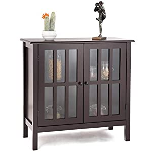 Tangkula Console Cabinet, Kitchen Storage Cabinet with Glass Door, Sideboard Console Table, Server Display Buffet Cabinet