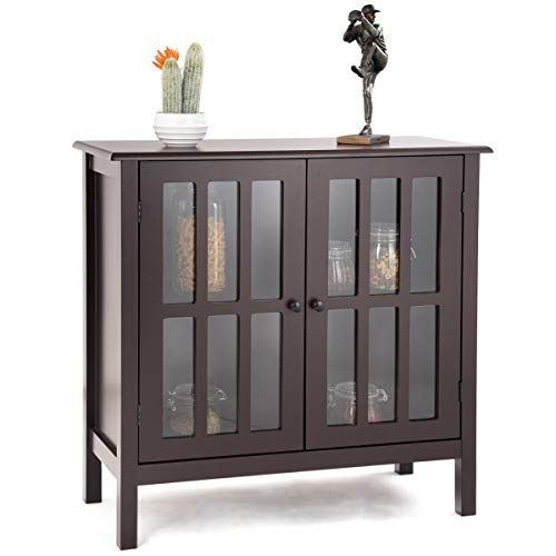 Glass Cabinet Modern (Tangkula Console Cabinet Storage White Glass Door Sideboard Console Table Server Display Buffet Cabinet (Brown))