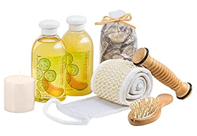 Bath Gift Basket Wooden Massage & Reflexology Kit at Home Spa Set Holiday Gifts for Women Fresh Cucumber Melon Aromatherapy Bath and Body Set Works for All Occasions Shower Gel, Bubble Bath & More